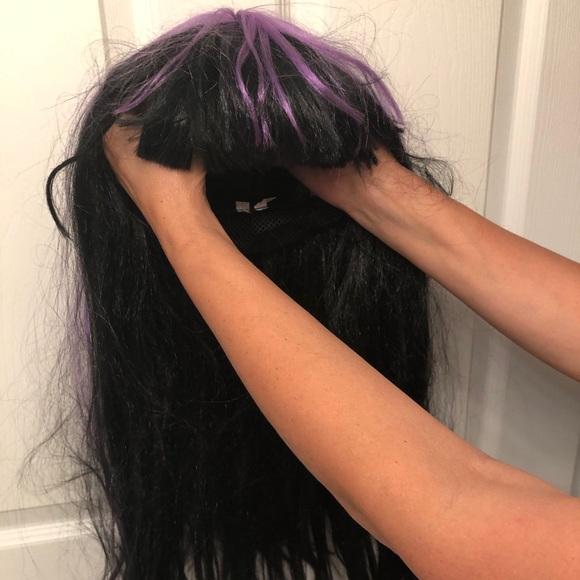 Purple Streak Witch Goth Cosplay Wig Halloween